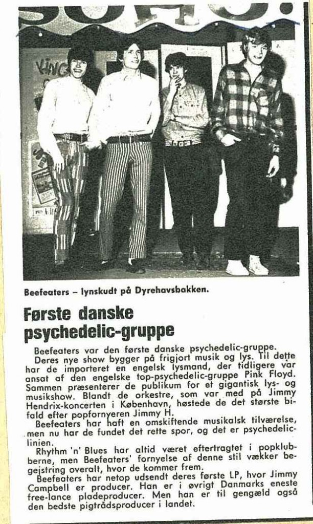 artikel fra avis om Beefeaters som psykedelisk gruppe